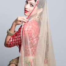 Bride looking towards camera